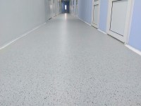 Decorative coating with colored acrylic flocks, corridors of a pharmaceutical company