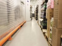 Self-leveling floor in the warehouse of the hypermarket